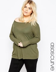 Asos Curve Top With Off Shoulder Detail In Slouchy Fabric Green