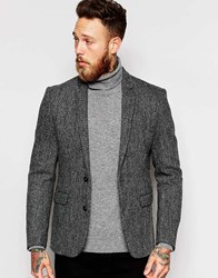 Asos Slim Blazer In Harris Tweed Grey