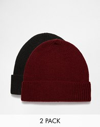 Asos Fisherman Beanie Hat 2 Pack Save 20 Black Burgundy Multi