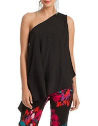 Trina Turk Nimah One Shoulder Silk Blouse Black