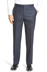 Men's Hickey Freeman Flat Front Solid Wool Travel Trousers Navy
