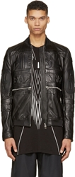 Hood By Air Black Leather Hockey Bomber Jacket