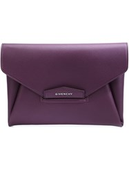 Givenchy Medium 'Antigona' Envelope Clutch Pink And Purple