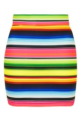 Rainbow Stripe Mini Skirt By Jaded London Multi
