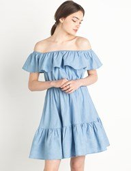 Pixie Market Chambray Ruffled Off The Shoulder Dress