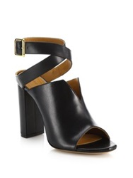 Chlo Leather Criss Cross Ankle Sandals Black