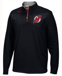 Reebok Men's New Jersey Devils Center Ice Quarter Zip Pullover Black