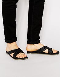 Dune Crossover Leather Sandals Black