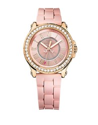 Juicy Couture Ladies Pedigree Goldtone And Silicone Watch Pink