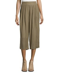 Vince Camuto Wide Leg Cropped Crepe Pants Grape Leaf