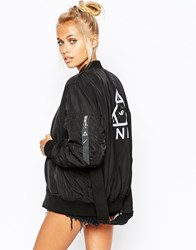 Unif Oversized Bomber Jacket With Back Logo And Contrast Lining Jetblack