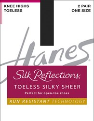 Hanes Silk Reflections Sheer Toeless Knee Highs Bisque