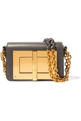 Tom Ford Natalia Mini Leather Shoulder Bag Gray