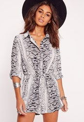 Missguided Snake Print Long Sleeve Shirt Playsuit Mono Black