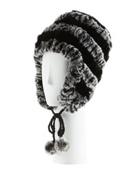 Annabelle New York Fur Striped Knit Trapper Hat Black Blac