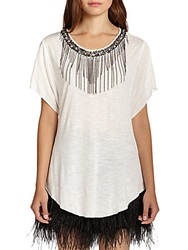 Ella Moss Chandelier Beaded Chain Fringe Tee