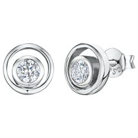 Jools By Jenny Brown Cubic Zirconia Open Round Stud Earrings Silver