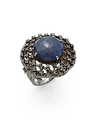 Bavna Sapphire Champagne Diamond And Sterling Silver Cocktail Ring