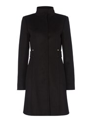 Hugo Boss Cielina Funnel Neck Side Belts Wool Coat Black
