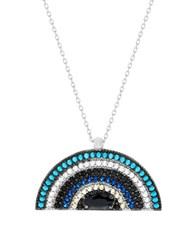 Lord And Taylor Cubic Zirconia Half Circle Necklace Blue