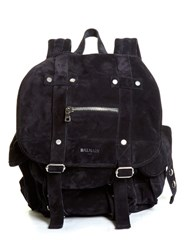 Balmain Suede Backpack Navy