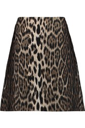 Lanvin Leopard Print Jacquard Mini Skirt Brown