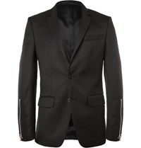 Givenchy Black Slim Fit Zip Trimmed Wool Blend Blazer Black