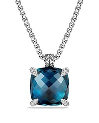 David Yurman Chatelaine Pendant With Hampton Blue Topaz And Diamonds Blue Silver