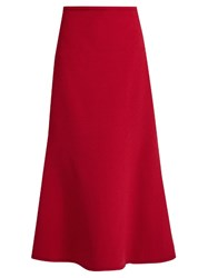 Ellery Beedee Fluted Crepe Midi Skirt Red