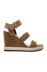 Balenciaga Suede Wedge Sandals In Brown