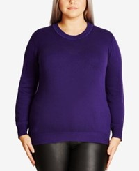 City Chic Trendy Plus Size Cutout Back Sweater Royalty