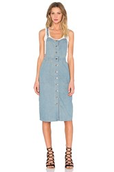 Capulet Front Button Overall Dress Washed Denim