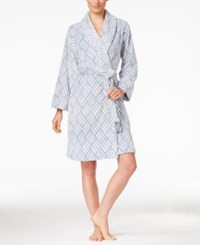 Charter Club Embossed Swirl Short Robe Only At Macy's Blue Swirl