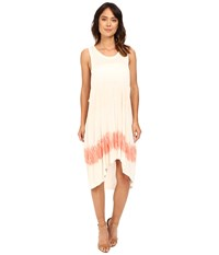 The Beginning Of Chamarel Dip Dye Dress Coral Colorway Women's Dress White