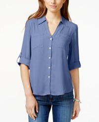 Amy Byer Bcx Juniors' Roll Tab Button Front High Low Blouse Chambray Blue