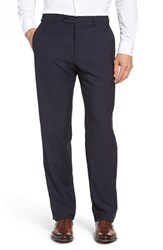 Zanella Men's Flat Front Check Wool Trousers Navy