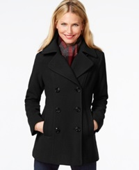 London Fog Double Breasted Peacoat With Plaid Scarf Black