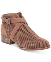 Vince Camuto Casha Perforated Booties Women's Shoes Smoke Taupe