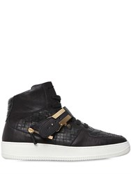 D S De Woven Leather High Top Sneakers