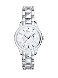 Christian Dior Dior Viii Montaigne Mother Of Pearl And Stainless Steel Bracelet Watch Silver