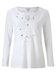East Embellished Cotton Top White