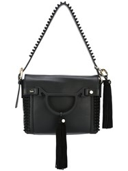Borbonese Tassel Detail Shoulder Bag Black