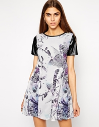 Lashes Of London Trissie Printed Dress With Pu Sleeves Blue