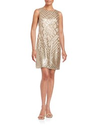 Vince Camuto Sleeveless Sequin Shift Dress Gold