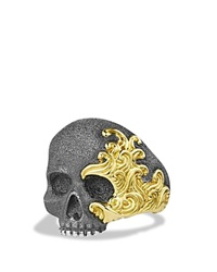 David Yurman Waves Large Skull Ring With Gold Silver Gold