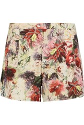 Haute Hippie Pleated Floral Print Silk Shorts Pink