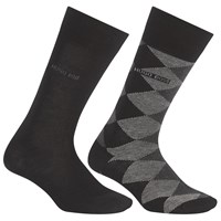 Boss Logo Boss Diamond And Solid Wool Blend Socks Pack Of 2 Black Grey