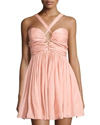 The Jetset Diaries Short Lived Ruched Halter Dress Peach Pink