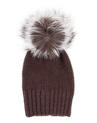 Inverni Cashmere And Fox Fur Beanie Beige Taupe