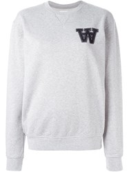 Wood Wood Logo Patch Sweatshirt Grey